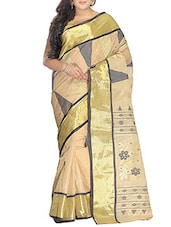 Beige cotton Handwoven tangail Saree -  online shopping for Sarees