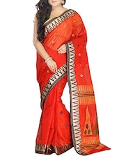 Red Cotton Handwoven tangail Saree -  online shopping for Sarees