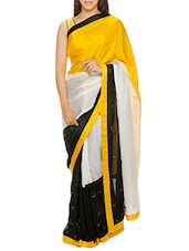 Multicoloured hand embroidered silk saree -  online shopping for Sarees