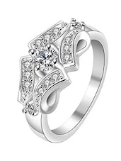 Rhodium Plated CZ Ring For Women - By