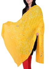 Yellow Poly Chiffon Bandhani Dupatta - By