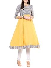 Yellow Rayon Flared Kurta - By