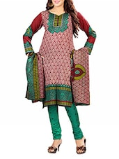 Red And Green Cotton Printed Unstitched Suit Set - By