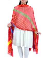 Red Chiffon Leheriya Dupatta - By