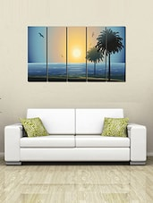 Printed Wooden Multiple Frame Printed Abstract Sun Set Art Panels Like Painting - 5 Frames - By