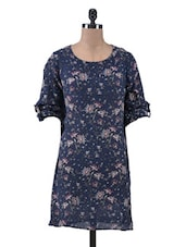 Navy Blue Cotton Crepe Printed Dress - By