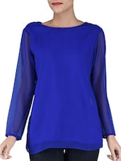 Royal Blue Top With Back Cutouts - By