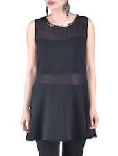 Black Plain Sequin Worked Poly Georgette Dress - By