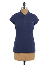 Blue Cotton Collared T-Shirt - By