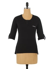 Black Cotton Round Neck Top - By