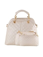 white leatherette quilted handbag, sling and pouch (set of 3) -  online shopping for handbags