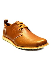 tan pu lace up shoes -  online shopping for Shoes