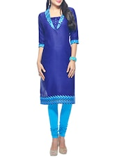 blue cotton aline kurta -  online shopping for kurtas