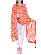 Orange Chiffon Leheriya Dupatta - By