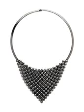 Black Metal Statement Necklace - By