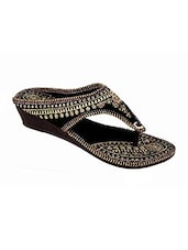 black color, handicrafted embroidered jutis -  online shopping for Jutis & Mojaris