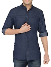 dark blue cotton casual shirt -  online shopping for casual shirts