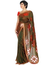 Orange and green embellished silk saree -  online shopping for Sarees