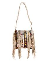 Aztec Inspired Fringe Sling Bag - By