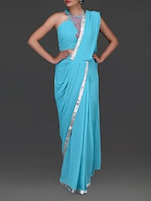 Plain Turquoise Pure Georgette Sari - By