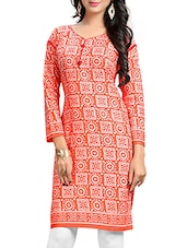 orange cotton kurti -  online shopping for kurtis