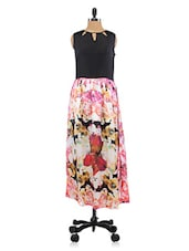 Pink Floral Print Polyester Dress - By