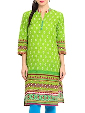 Green Cotton Printed Kurti With Non-functional Buttons - By