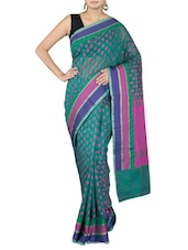 Green Cotton Art Silk And Zari Saree - By - 1246673