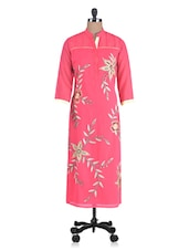 Pink Georgette Embroidered Aari Worked Kurti - By
