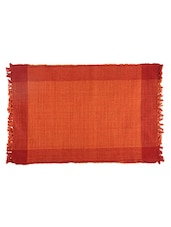 Dhrohar Hand Woven Cotton Table Mat - Pack Of 2 Mats - Orange - By