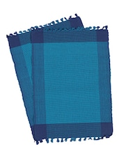 Dhrohar Hand Woven Cotton Table Mat - Pack Of 2 Mats - Blue - By