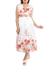 white floral printed georgette dress -  online shopping for Dresses