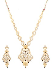 Gold Metallic Embellished Necklace Set - By - 1247669
