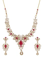Gold Metallic Embellished Necklace Set - By - 1247675