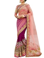 pink net half and saree -  online shopping for Sarees