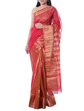 Pink Maheshwari Silk Woven Saree -  online shopping for Sarees