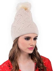 Beige Polyester Cap - By