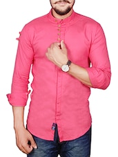pink cotton blend casual shirt -  online shopping for casual shirts