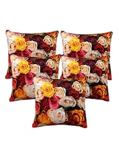 Homefab India 3D Rose Design Set Of 5 Cushion Covers (16X16 Inches) - By