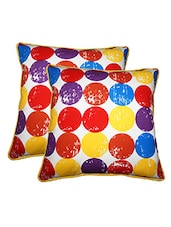 "Lushomes Titac Printed Cotton Cushion Covers With Co-ordinating Cord Piping (Size 12"" X 12"") Pack Of 2 - By"