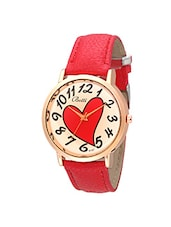 Botti Red Heart Dial Analog Leather Watch for Women -BOT-0019 -  online shopping for Wrist watches