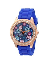 Geneva Collection Blue Floral Dial Analog Watch for Women-GNV-0013 -  online shopping for Wrist watches