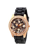 Geneva Collection Black Floral Dial Analog Watch for Women-GNV-0016 -  online shopping for Wrist watches