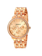 Geneva Collection Rose Gold Dial Analog Watch for Women-GNV-0019 -  online shopping for Wrist watches