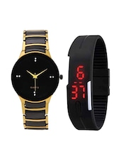 Golden Black Metal Strap & Black Led Watch -  online shopping for Watch Combos