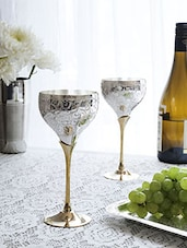 Set Of 4 Silver And Gold Wine Glasses - By