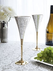 Set Of 4 Silver And Gold Wine Glasses - By - 1249949