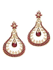Red Stone Studded Metallic Earring - By - 1250177