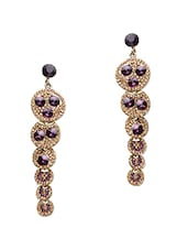 Purple Stone Studded Metallic Earring - By