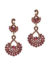 Red Stone Studded Metallic Earring - By - 1250183
